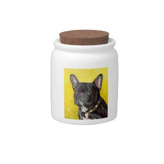 Black French Bulldog Dog Treat Candy Jar