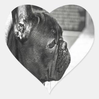 Black French Bulldog Heart Sticker