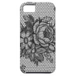 black french lace rose iphone 5 case