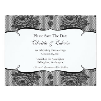Black French Lace Save The Date Announcement