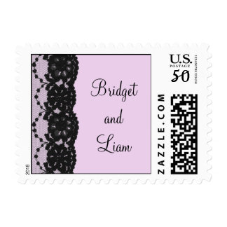 Black French Lace Wedding Stamp