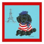 Black French Poodle Puppy Dog Invitation