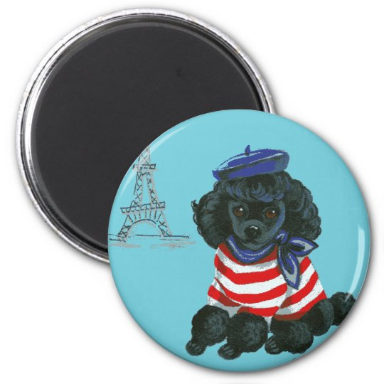 Black French Poodle Puppy Dog Magnet