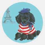 Black French Poodle Puppy Dog Round Sticker