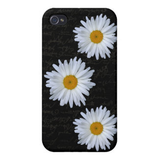 Black French Script & Daisy's-  iPhone 4 Cover