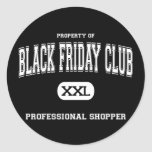 Black Friday Club Professional Shopper Round Sticker