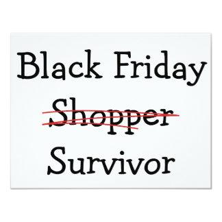 Black Friday Shopper Survivor gear and t-shirts. 4.25x5.5 Paper Invitation Card