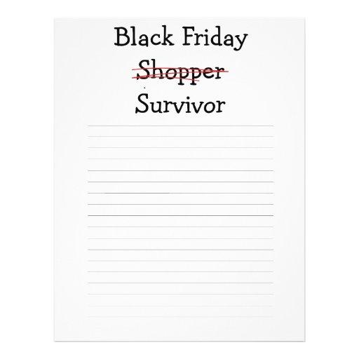 Black Friday Shopper Survivor gear and t-shirts. Flyer