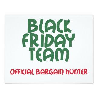 Black Friday Team: Official Bargain Hunter 4.25x5.5 Paper Invitation Card