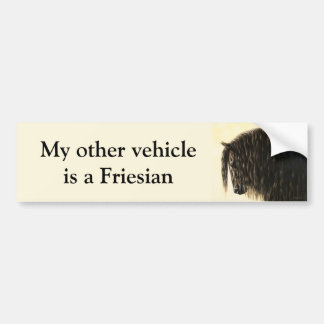Black Friesian Draft Horse Bumper Sticker