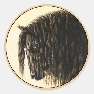 Black Friesian Draft Horse Classic Round Sticker