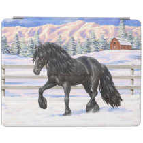 Black Friesian Draft Horse In Snow iPad Smart Cover