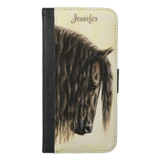 Black Friesian Draft Horse iPhone 6/6s Plus Wallet Case