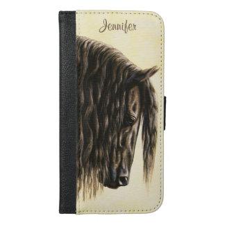 Black Friesian Draft Horse iPhone 6/6s Plus Wallet Case