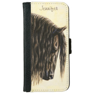 Black Friesian Draft Horse iPhone 6/6s Wallet Case