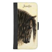 Black Friesian Draft Horse iPhone 8/7 Plus Wallet Case