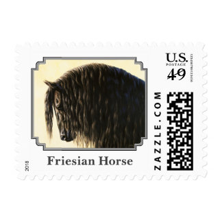 Black Friesian Draft Horse Postage