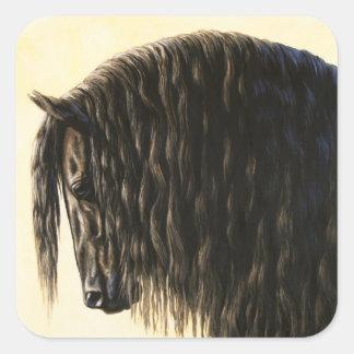 Black Friesian Draft Horse Square Sticker
