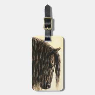 Black Friesian Draft Horse Tag For Luggage
