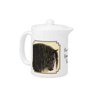 Black Friesian Draft Horse Teapot