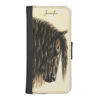Black Friesian Draft Horse Wallet Phone Case For iPhone SE/5/5s