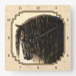 Black Friesian Horse Beige Square Wall Clock