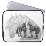 Black Friesian Horses Manes Tails Laptop Sleeves
