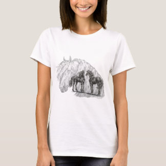 Black Friesian Horses Manes Tails T-Shirt
