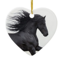 Black Friesian Runs Horse Christmas Ornament