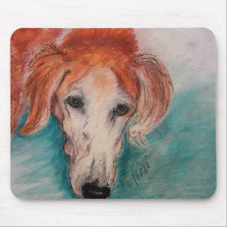 Black Fringed Red Saluki Dog Art Mousepad