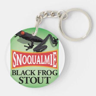 Black Frog Stout Double-Sided Round Acrylic Keychain