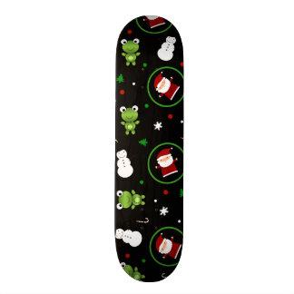 Black frogs santa claus snowmen skate deck
