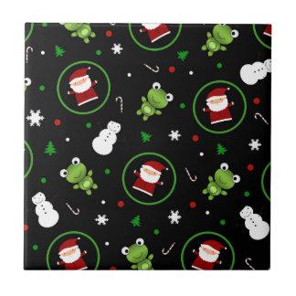 Black frogs santa claus snowmen ceramic tile