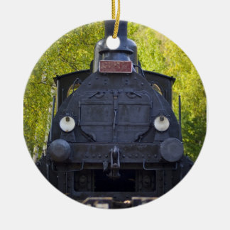 Black Front View Steam Engine Christmas Ornament