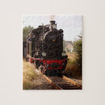 Black Front View Steam Engine Christmas Puzzle