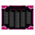 Black Fuchsia Floral Wedding Table Seating Charts