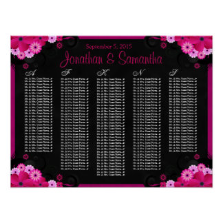 Black Fuchsia Floral Wedding Table Seating Charts