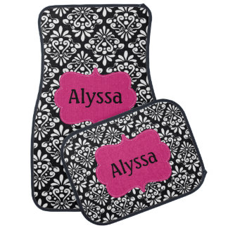 Black Fuchsia Pink Damask Personalized Car Floor Mat