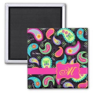 Black Fuchsia Pink Modern Paisley Monogram 2 Inch Square Magnet