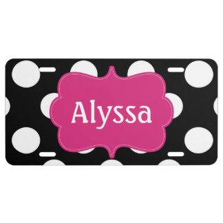 Black Fuchsia Polka Dots Personalized License Plate