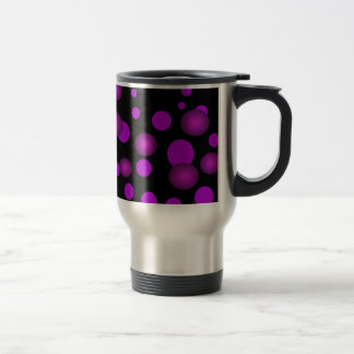 Black & Fuchsia Purple Polka Dots 3D Commuter Cup 15 Oz Stainless Steel Travel Mug