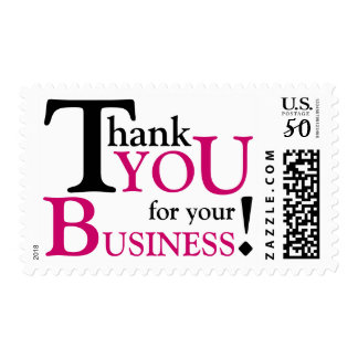 """Black & Fuchsia """"Thank you for your Business"""" Postage"""