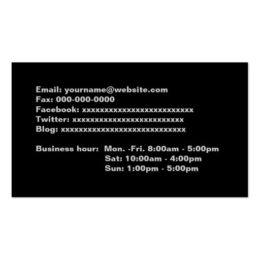 Black full information business cards, business card