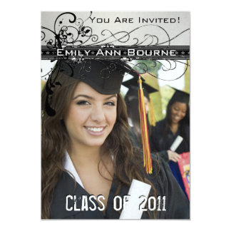 Black Funky Elegant Swirls Graduation Invite