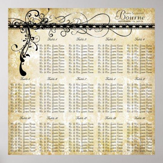 Black Funky Elegant Swirls Seating Chart Tables Poster
