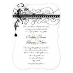 Black Funky Elegant Swirls Wedding Invitation