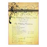 Black Funky Elegant Swirls Wedding Program Custom Invite