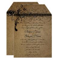 Black Funky Elegant Swirls Wedding RSVP Invitation