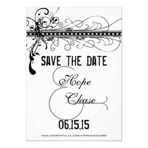 Black Funky Elegant Swirls Wedding Save the Date Personalized Announcements