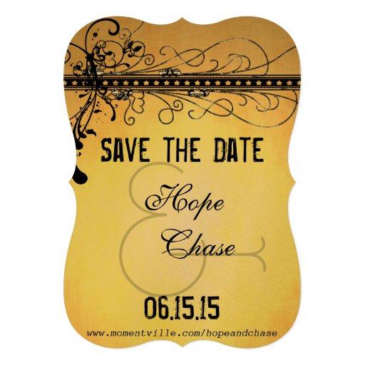 Black Funky Elegant Swirls Wedding Save the Date Personalized Invitation